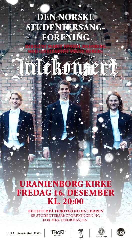 Julekonsert i Oslo med Studentersangforeningen, 16.desember 2016 i Uranienborg kirke